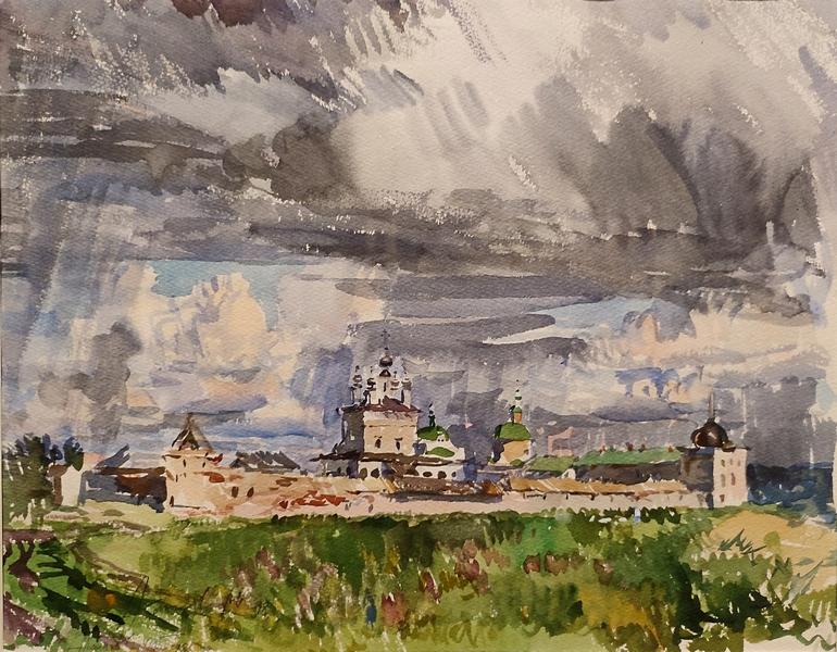 Абакумов М.Г. Белопесоцкий Свято-Троицкий монастырь. 1998. Бумага, акварель.