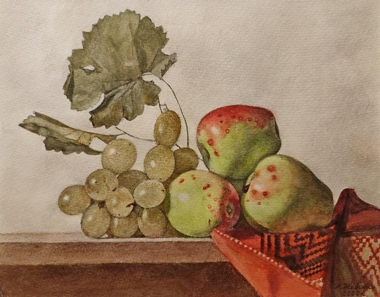 Жабский А.А. Яблоки с виноградом. 2000. Бумага, акварель.