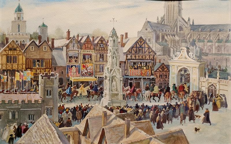 Иткин А.З. Королевская процессия на улицах Лондона. Иллюстрация к книге Марка Твена «Принц и нищий». 1990. Бумага, акварель, гуашь, белила.