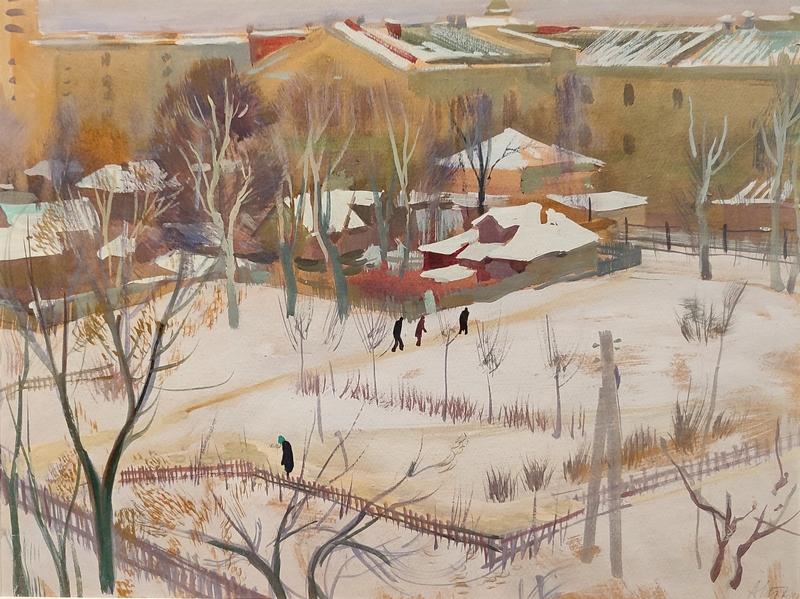 Иткин А.З. Московский двор (МАИ). 1960-е. Бумага, гуашь.