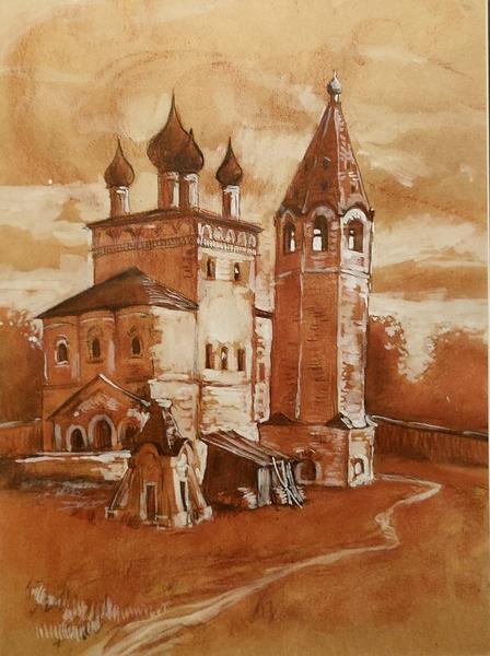 Самсонов М.И. Гороховец. В Николо-Троицком монастыре. 1970-е. Бумага, сангина, белила, уголь, карандаш.