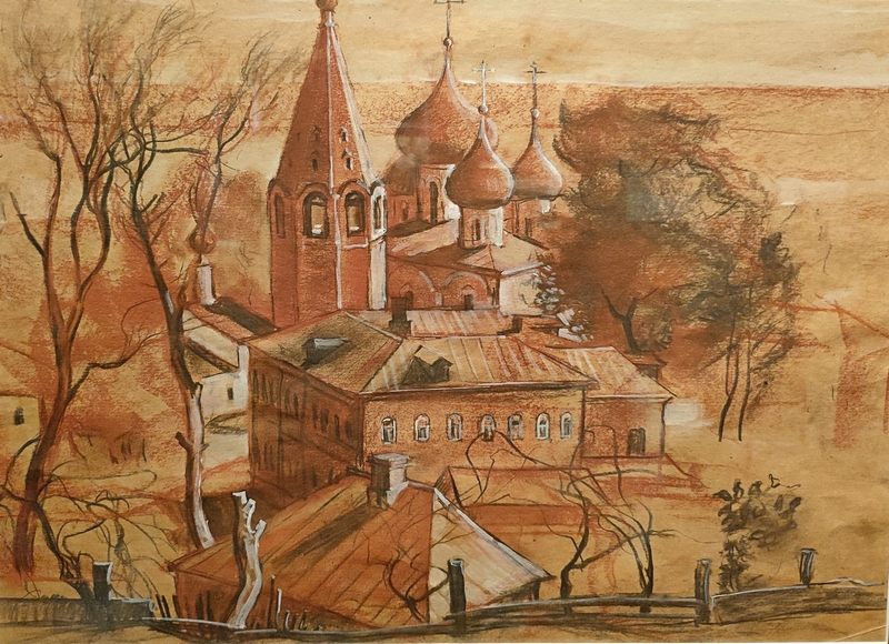 Самсонов М.И. Старый Гороховец. 1970-е. Бумага, сангина, белила, уголь, карандаш.