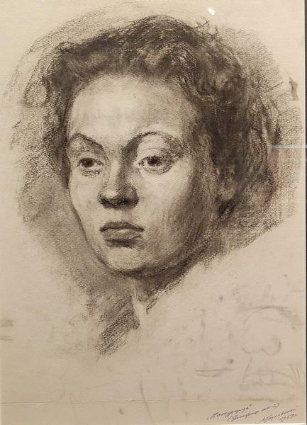 Гоцлавский Л.Ч. Натурщица. Портрет. 1959. Бумага, уголь.