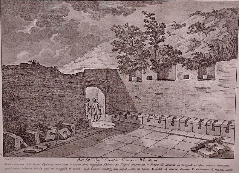 Филиппо Морген. Внутренний вид целительных бань близ храма Сераписа в Поццуоли. 1770-е. Бумага, офорт, резец.