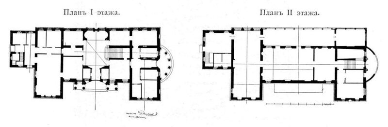 Дом Скакового общества. Планы первого и второго этажей.