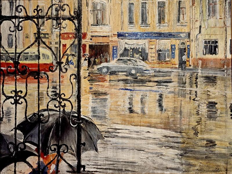 Проливной дождь. 1957. Холст, масло. Русский музей.