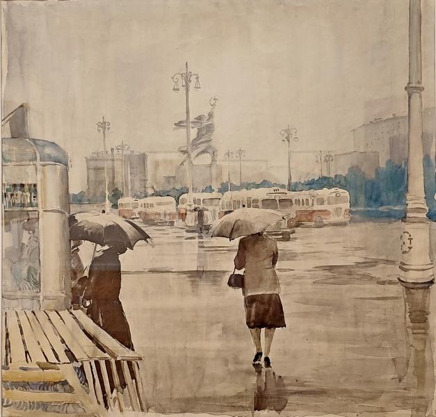 Конечная станция. Серия «Московская жизнь». 1956. Бумага, акварель. Русский музей.