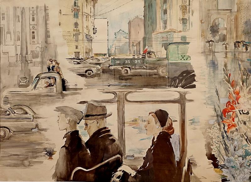 Москва. Садовое кольцо. 1957. Бумага, акварель. Русский музей.