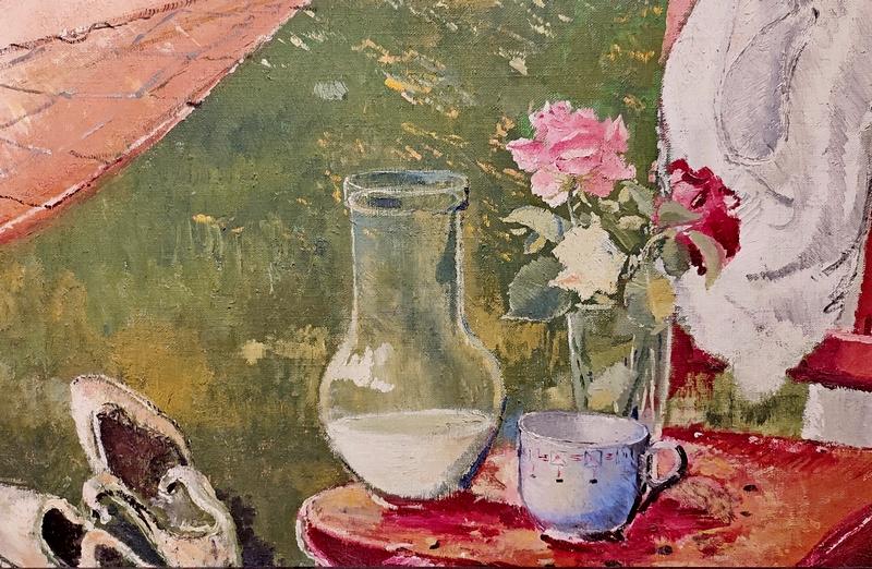 Фрагмент.  Женщина в гамаке. 1934. Холст, масло. Русский музей.