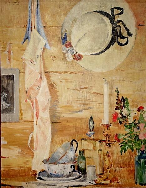 Натюрморт с соломенной шляпкой. 1936. Холст, масло. Национальный художественный музей Латвии, Рига.