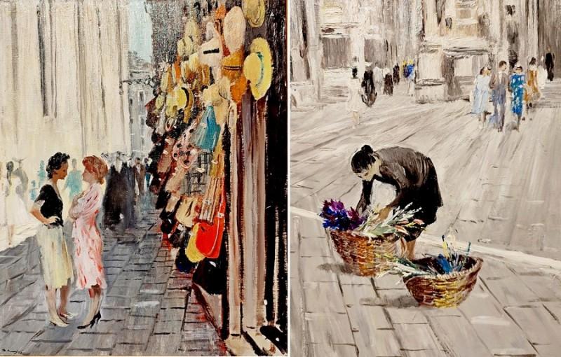 Венеция: Лавка соломенных шляп. - Одинокая продавщица цветов (фрагмент). 1958. Холст, масло. Русский музей.