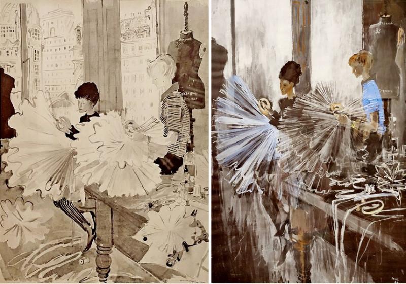 Лондонские балетные портнихи. 1961 и 1971. Бумага, черная акварель, белила, гуашь. Русский музей.