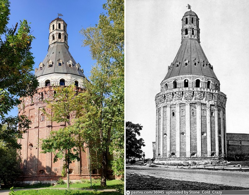 Башня «Дуло». 1630-1640-е. Фото 2021 и 1890-1910. Раньше на башне был флюгер в виде парящего в воздухе ангела.