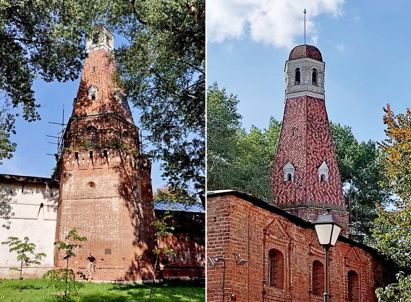 Башня «Кузнечная». Вид снаружи и изнутри монастырских стен. Фото 2021.