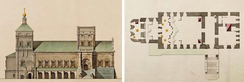Симонов монастырь. Трапезная церковь. Северный фасад и план. Тюрин Е. Д. 1830-е.