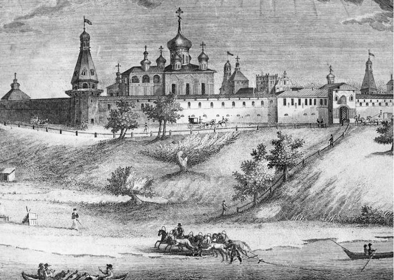 Вид Симонова монастыря с северо-западной стороны. Гравюра. А. Афанасьев. 1823.