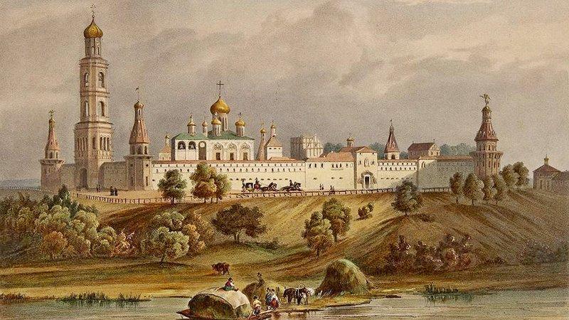 Симонов монастырь в Москве. Л. П. А. Биш-Буа. Из акварельного альбома Виды Москвы, 1846.