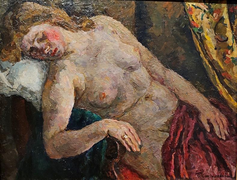 Петр Кончаловский. Спящая девушка. 1923. Холст, масло. Собрание В.М.Шкулёва, Москва.