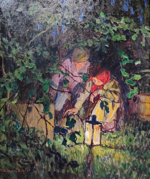 Николай Богданов-Бельский. За работой (Свет фонаря). Около 1900. Холст, масло. Частное собрание, Европа.