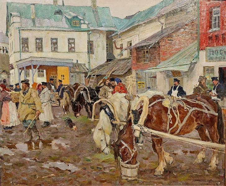 Арнольд Лаховский. Базарный день. 1914. Холст, масло. Альбион галерея, Москва.