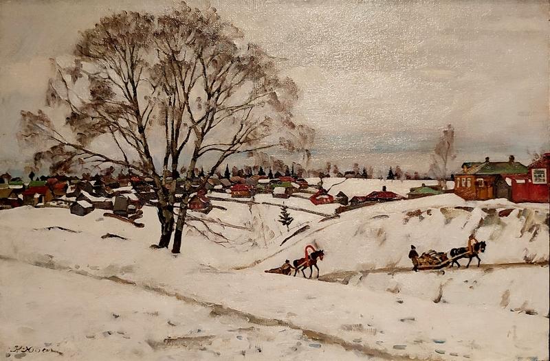 Константин Юон. Зима (Черные березы). 1921. Холст, масло. Вологодская областная картинная галерея.