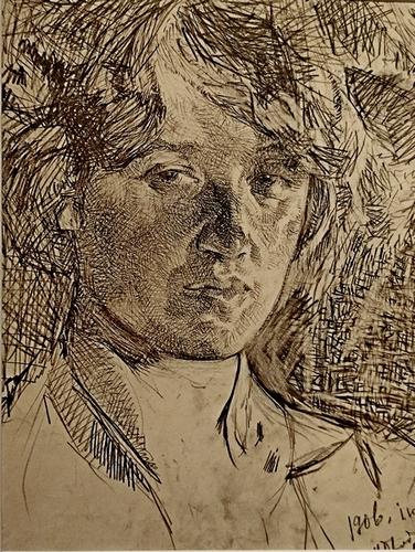 И.И.Бродский. Портрет Л.Д.Бурлюк. 1906. Бумага, карандаш. Научно-исследовательский музей при РАХ.