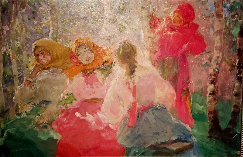 П.Д.Шмаров.  Крестьянки в роще. 1949. Холст, масло. Музей русского импрессионизма.