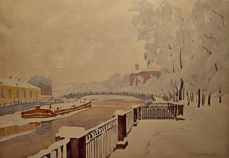 А.П.Остроумова-Лебедева. Летний сад в инее. 1929. Бумага, акварель. ГТГ.
