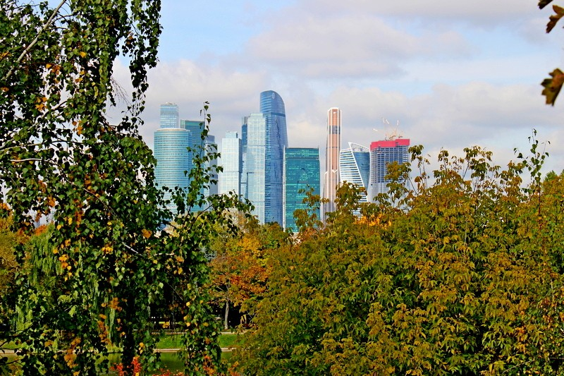 Вид на Москва-Сити со смотровой площадки Новодевичьего монастыря.