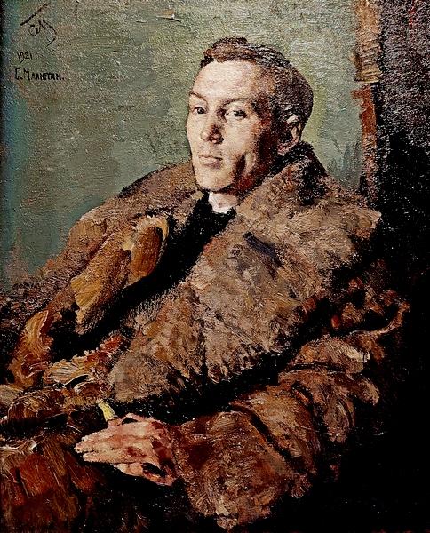 С.В.Малютин. Портрет мужчины в шубе. 1921.