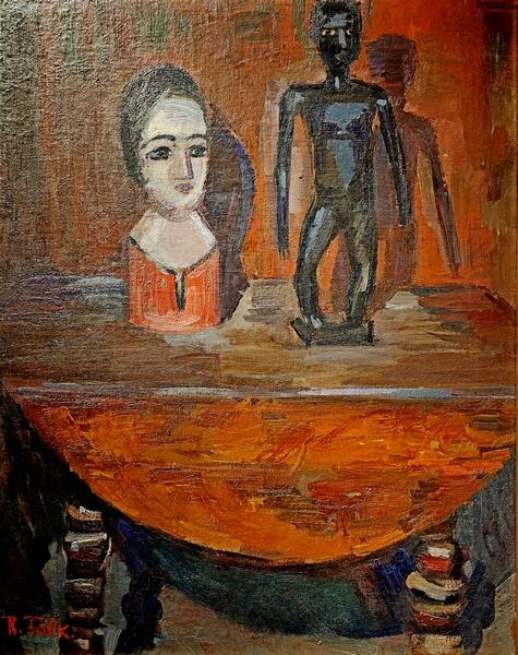 Р.Р.Фальк. Натюрморт с манекеном и африканской скульптурой. 1931.