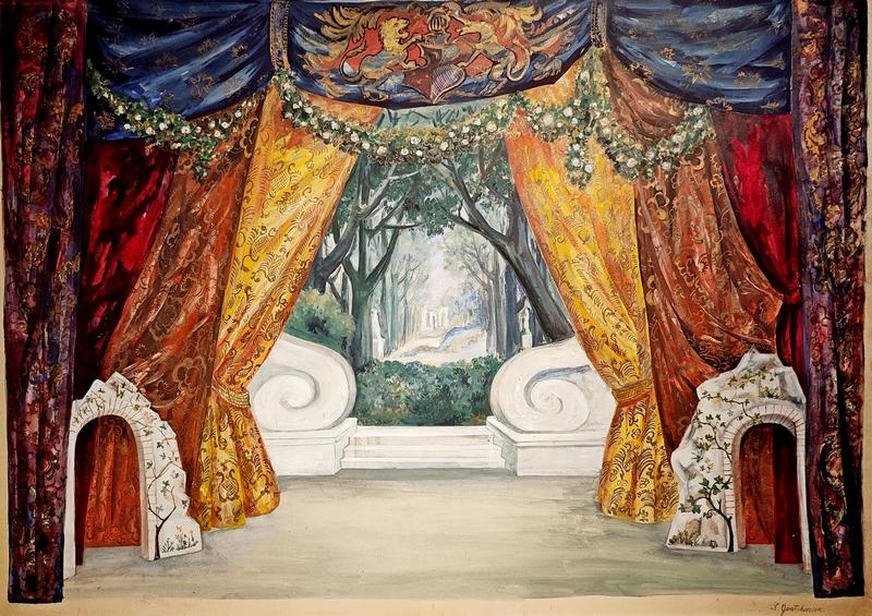 Н.С.Гончарова. Эскиз декорации. 1930-1940-е.