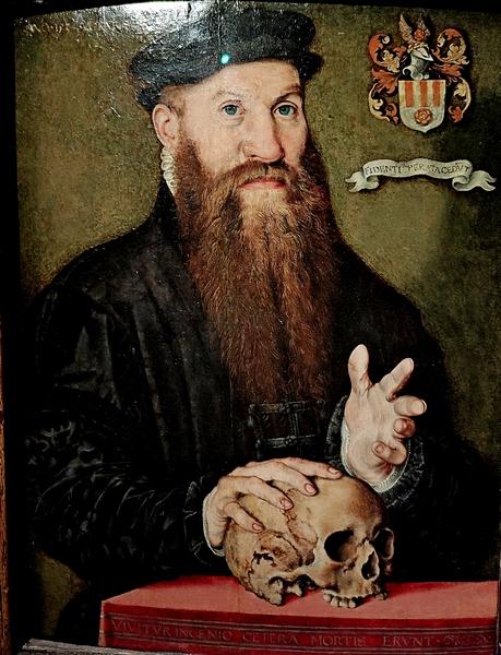 Ян Корнелизон Вермеен (1500-1559). Портрет дворянина с бородой, 33-х лет (Портрет Давида Йориса). 1534. Дерево, масло.