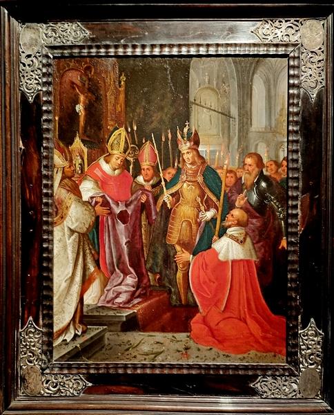 Последователь Франса Франкена Младшего. Карлу V показывают Ризу Господню в Ахене. XVII в. Масло, медная пластина.