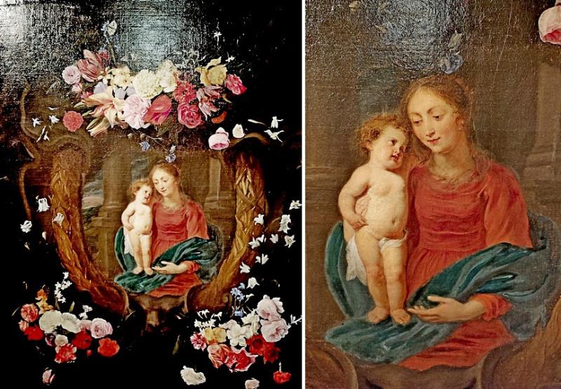 Ян Филипп ванн Тилен (1618-1667) и Эразм Квеллин Младший (1607-1678). Мадонна с младенцем в цветочной гирлянде. Холст, масло.