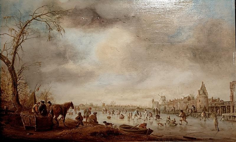 Исаак ванн Остаде (1621-1649). Зимний пейзаж с прогулкой на коньках перед городской стеной. 1641. Дерево, масло.