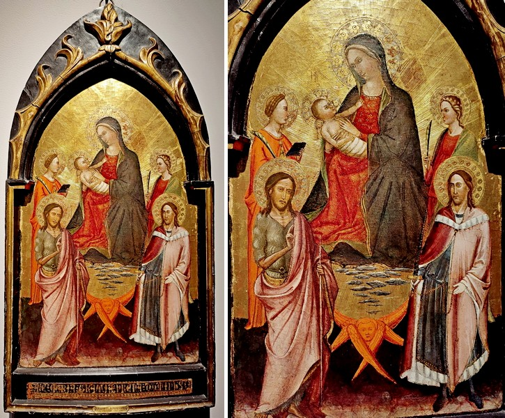 Мастер Сан Якопо а Муччиана (работал во Флоренции между 1390-1420). Мадонна с младенцем во славе со св. Иоанном Крестителем, Юлианом и двумя мучениками. 1410-е. Дерево, темпера, позолота.