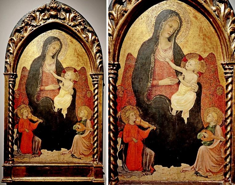 Лоренцо ди Никколо Джерини (круг), возможно Лоренцо ди Никколо Мартино. Мадонна с младенцем на троне и музицирующими ангелами. Начало XV века. Дерево, темпера, позолота.