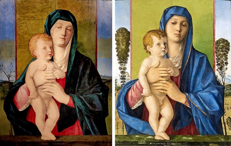 Джованни Беллини (1430/1433-1516). Мадонна с младенцем. Около 1486 (?). Дерево, масло. – Справа: Джованни Беллини. Мадонна дельи Альберетти. 1487. Галерея Академии, Венеция.