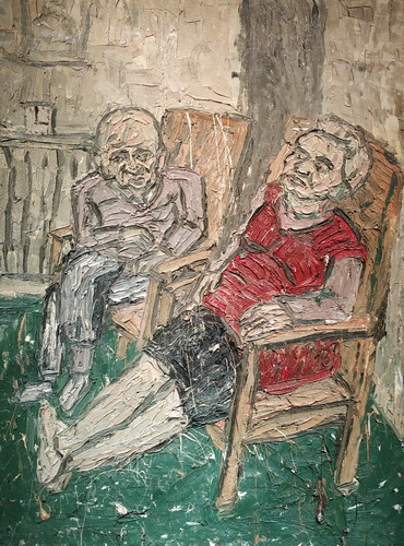 Леон Коссоф. Две сидящие фигуры №2. 1980. Оргалит, масло. Галерея Тейт.