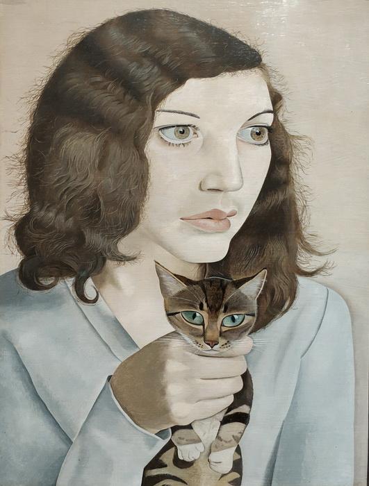 Люсьен Фрейд. Девушка с котенком. 1947. Холст, масло. Галерея Тейт.