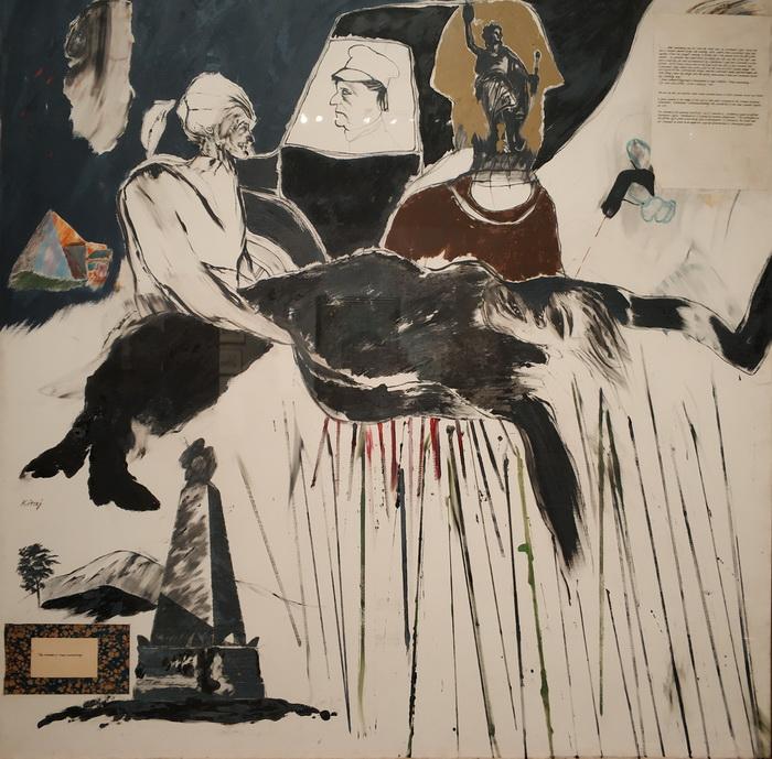 Рон Б. Китай. Убийство Розы Люксембург.1960. Бумага, монтированная на холст, масло, чернила и графит. Галерея Тейт.
