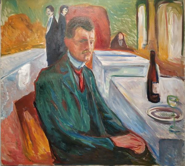 Эдвард Мунк. Автопортрет с бутылкой вина. 1906. Холст, масло. Музей Мунка, Осло.