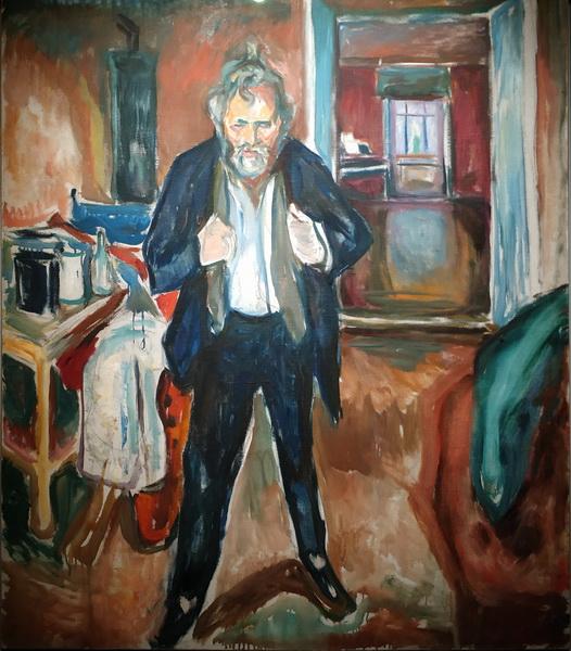 Эдвард Мунк. Бессонная ночь. Автопортрет в состоянии смятения. 1920. Холст, масло. Музей Мунка, Осло.