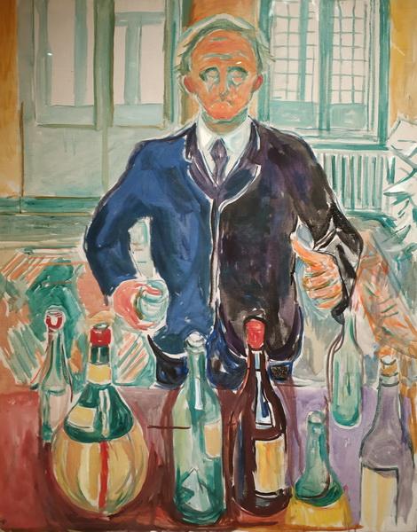 Эдвард Мунк. Автопортрет с бутылками. 1938 (?). Холст, масло. Музей Мунка, Осло.