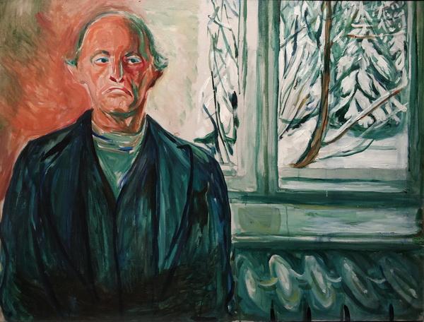 Эдвард Мунк. Автопортрет у окна. 1940. Холст, масло. Музей Мунка, Осло.