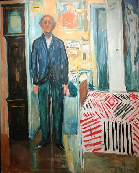 Эдвард Мунк. Автопортрет. Между часами и кроватью. 1940-43. Холст, масло. Музей Мунка, Осло.