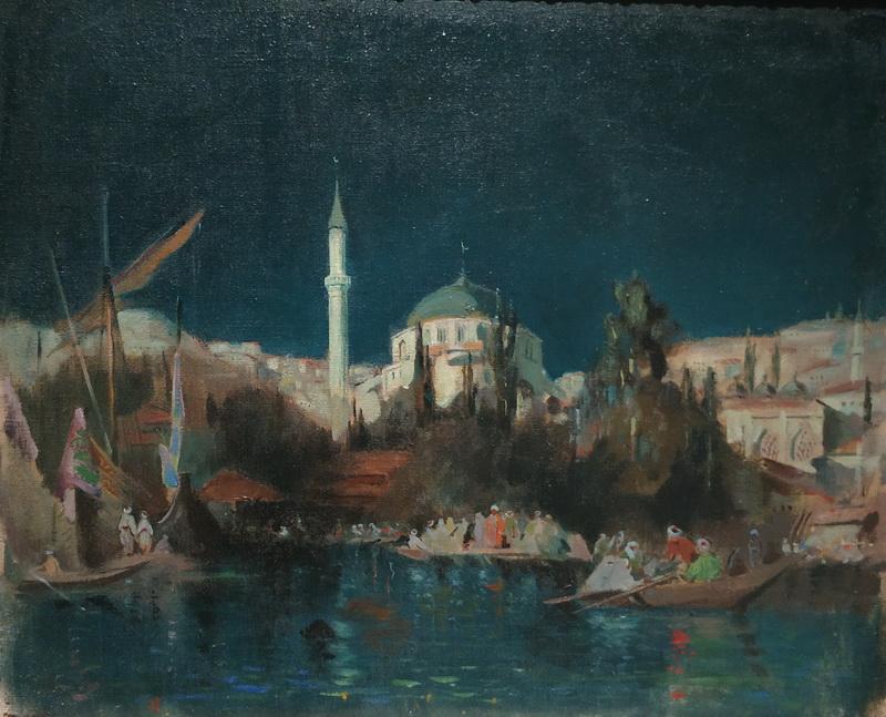 Павел Беньков (1879 -1949). Стамбул ночью. 1914. Холст, масло. Частное собрание.