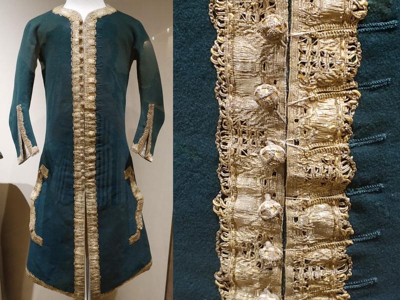 Камзол от охотничьего костюма императора Петра II. Россия, 1727-1730. Сукно, шелк, холст, галун, золотые нити.