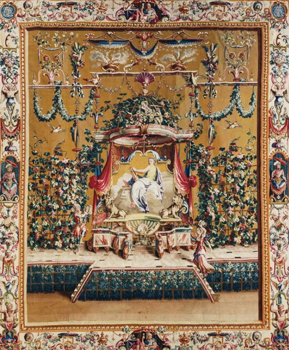 Шпалера «Муза истории Клио». Франция, до 1710. Шерсть, шелк; ткачество.